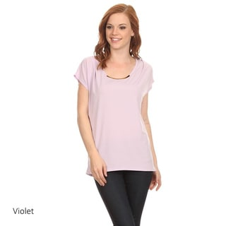 MOA Collection Women's Solid Polyester Tunic with Embellished Neckline