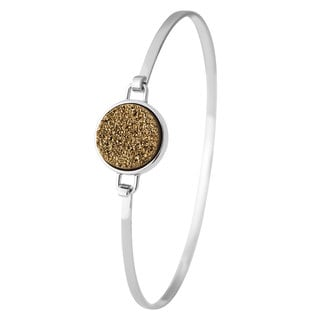 White Sterling Silver Yellow Drusy Bangle Bracelet