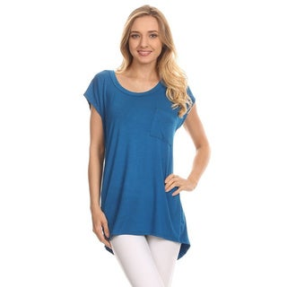 MOA Collection Women's Button Trimmed Back Top