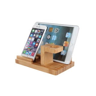 iPM Brown Bamboo/Wood Dock for Apple Watch, iPhone, iPad and Desk Organizer