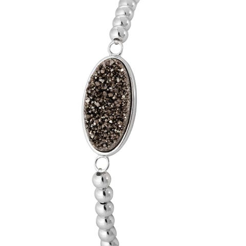 Sterling Silver Smokey Drusy Stretch Bead Bracelet