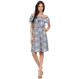 MOA Collection Women's Floral Denim Dress