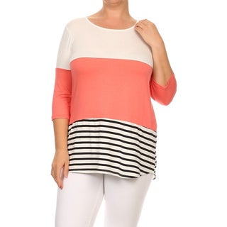 MOA Collection Women's Colorblock Plus Size Striped Top