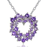 Glitzy Rocks Sterling Silver Amethyst and Diamond Accent Cluster Heart Necklace