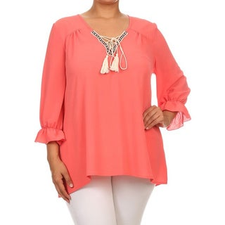 MOA Collection Women's Rayon Solid Plus-size Neck-tie Top