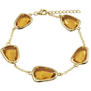 Luxiro Gold Finish Sterling Silver Sliced Glass Bracelet