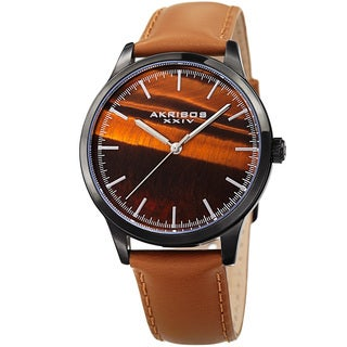 Akribos XXIV Men's Quartz Tiger Eye Leather Strap Watch