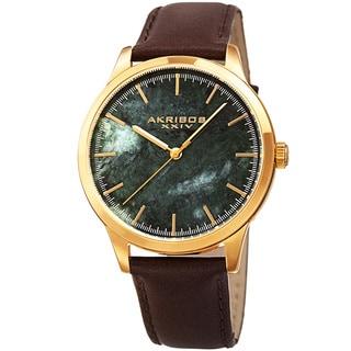 Akribos XXIV Men's Quartz Green Marble Leather Strap Watch