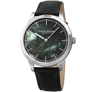 Akribos XXIV Men's Quartz Green Marble Leather Strap Watch