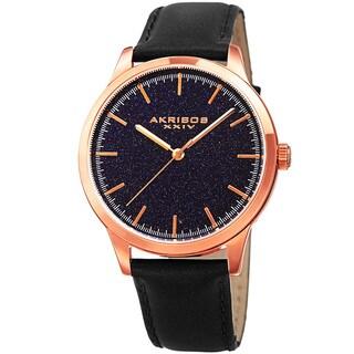 Akribos XXIV Men's Quartz Blue Goldstone Leather Strap Watch