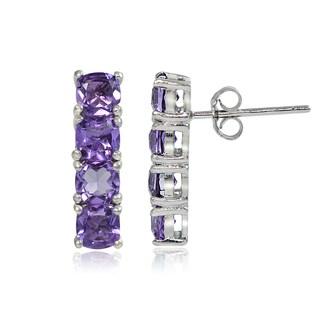 Glitzy Rocks Sterling Silver Gemstone Bar Drop Earrings