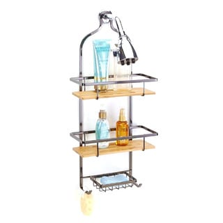 Simplify Bamboo and Steel Flat Wire Deluxe Shower Caddy