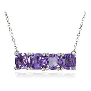 Glitzy Rocks Sterling Silver Gemstone Bar Necklace