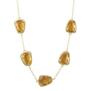Luxiro Gold Finish Sterling Silver Champagne Sliced Glass Necklace