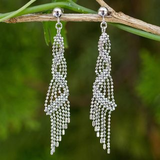 Handcrafted Sterling Silver 'Bangkok Fringe' Earrings (Thailand)