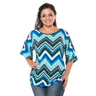 Haute Apparel Women's Plus Size Short-Sleeve Cutout Top