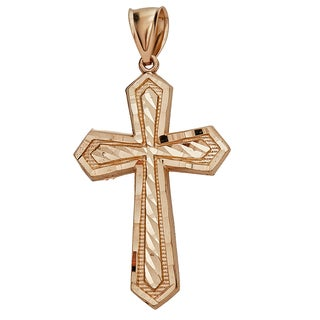 14k Gold Yellow Diamond-cut Cross Pendant