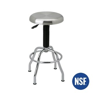Seville Classics Silver Metal Pneumatic Work Stool with Stainless Steel Seat