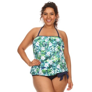 Dippin' Daisy's Women's Plus Size Blue and Green Nylon/Spandex Tankini