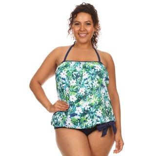 Famous Maker Women's Plus Size Blue and Green Nylon/Spandex Tankini