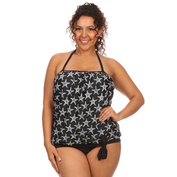 1ec406c2562ab Shop Women's Plus-size Black Seastar Bandeau Blouson Tie Tankini - On Sale  - Free Shipping On Orders Over $45 - Overstock - 11934083