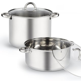 Cook N Home Stainless Steel 13-quart High Stockpot and Wide Low Stockpot With Lid (Set of 4 Pieces)