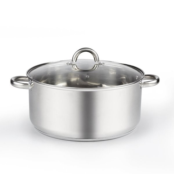 Cook N Home 12.5-Quart Stainless Steel Wide Low Stockpot with Lid