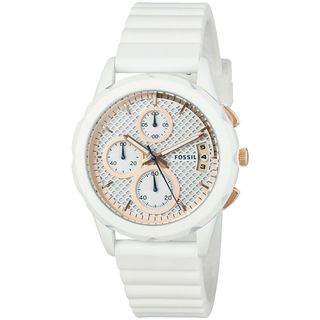 Fossil Women's ES3981 'Modern Pursuit' Chronograph White Silicone Watch