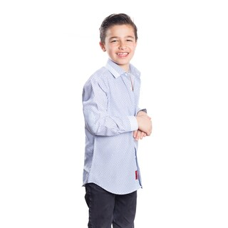 Elie Balleh Milano Italy Boys' Rayon Plaid Dot Slim-fit Shirt