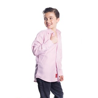 Elie Balleh Milano Italy Boys' Rayon Plaid Dot Slim-fit Shirt