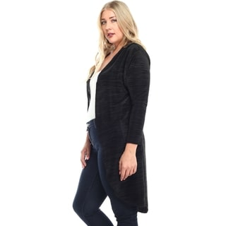 Haute Apparel Women's Plus Size Polyester Open Cardigan