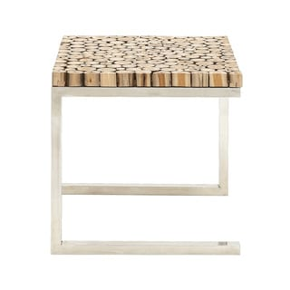 Teak with Stainless Steel Side Table