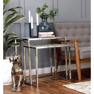 White or Silver Stainless Steel Nesting Tables (Set Of 2)