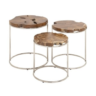 Teak with Stainless Steel Nesting Table (Pack of 3)