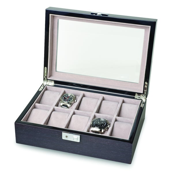 Versil Black Apricot Wood 10-watch Box