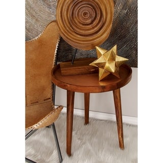 Brown Wood Round Tripod Side Table (Set of 2)