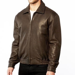 Men's Taupe Brown Leather Bomber Jacket