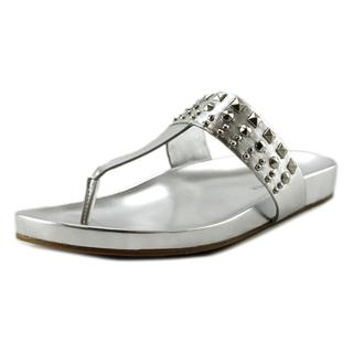 Marc Fisher Women's Samba Silver Leather Flip-Flop Sandals