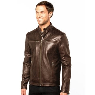 Tanners Avenue Men's Brown Lambskin Leather 'Cafe Racer' Jacket