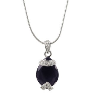 Luxiro Rhodium Finish Pave Crystals Teardrop Pendant Necklace