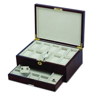 Versil Mahogany Wood/Velvet High Gloss Finish Accessories Case