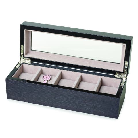 Velvet/Glass/Apricot Veneer High-gloss Lacquer 5-watch Box by Versil