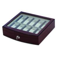 Versil Dark Maple Velvet-lined Wooden 10-watch Case
