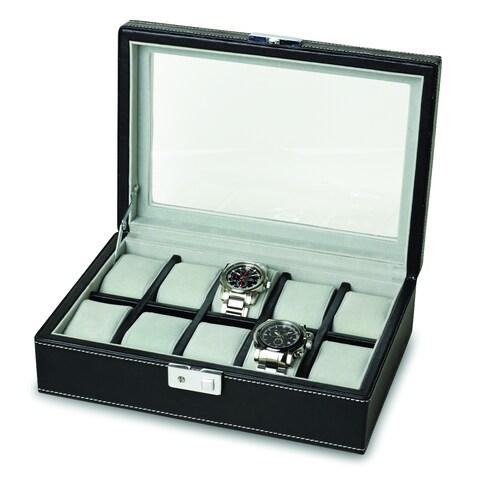 Versil Black/Grey Faux Leather/Polyurethane/Velvet/Glass 10-watch Box