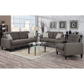 Porter Hamilton Otter Taupe Living Room Set with Woven Chevron Accent Pillows
