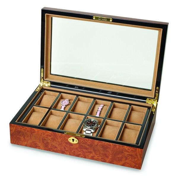 Versil Burl Wood High-gloss 12-watch Box