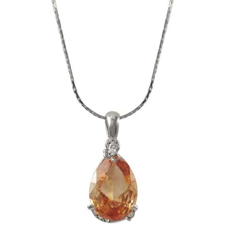 Luxiro Rhodium Finish Pave Crystals Champagne Teardrop Pendant Necklace - Orange