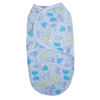 Summer Infant SwaddleMe Whale Tail Blue Cotton Small Single Swaddle Blanket