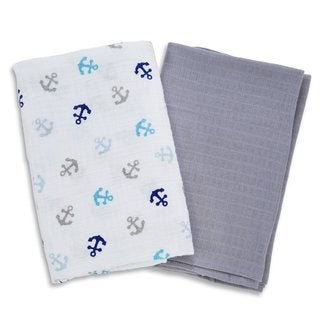 Summer Infant Anchors SwaddleMe Multi-color Cotton Small Muslin 2-Pack Blankets