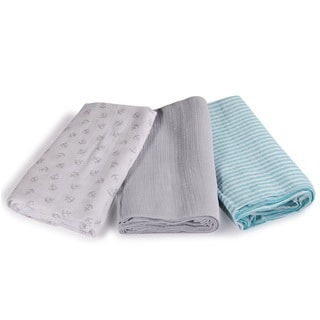Summer Infant SwaddleMe Grey Cotton Muslin Anchors Small Blankets (Pack of 3)